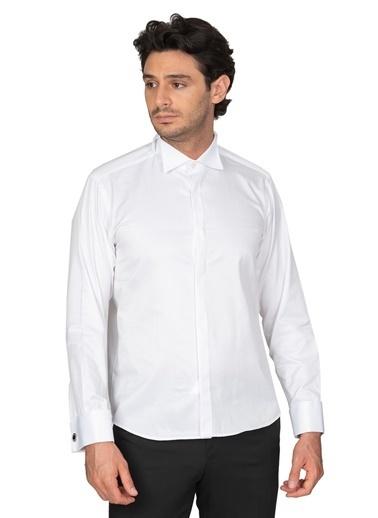 White Stone Pamuklu Slim Fit Damatlık Ata Yaka Gömlek Beyaz Beyaz